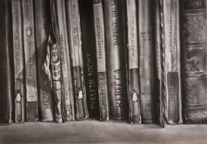 'Amongst-the-Books'-graphite-on-paper-45x28cm